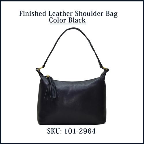 Finished Leather Shoulder Bag Color Black