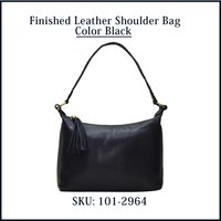 Finished Leather Shoulder Bag Color Black
