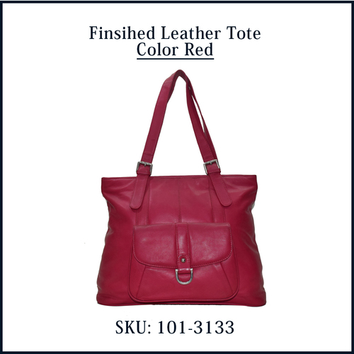 Finished Leather Tote Color Red