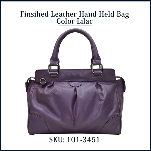 Finished Leather Hand Held Bag Color Lilac