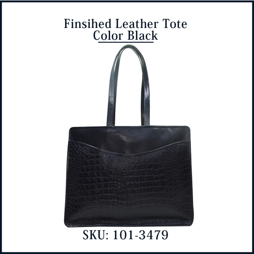 Finished Leather Tote Color Black