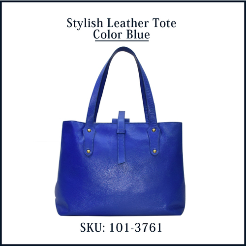Stylish Leather Tote Color Blue