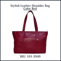 Stylish Leather Shoulder Bag Color Red