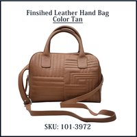 Finished Leather Handbag Color Tan