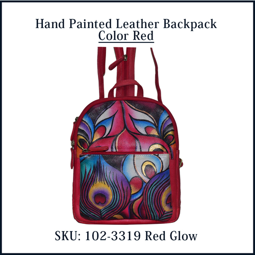 Red Color Hand Painted Leather Backpack