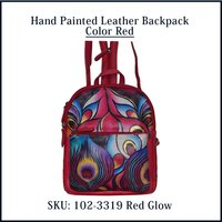 Hand Painted Leather Backpack Color Red