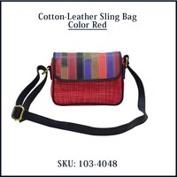 Cotton Leather Sling Bag Color Red