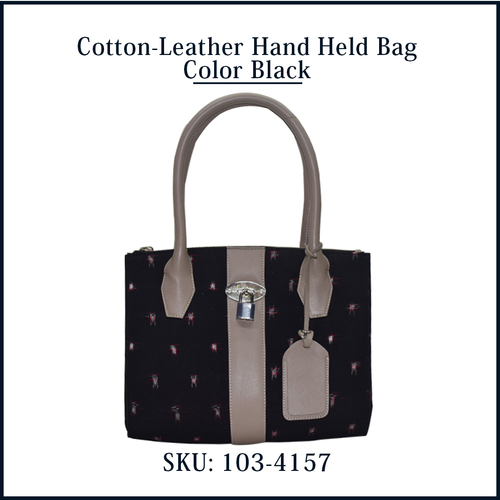 Cotton Leather Hand Held Bag Color Black