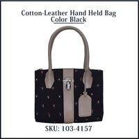Cotton Leather Hand Held Bag Color Black