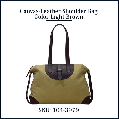 Canvas Leather Shoulder Bag Khaki color