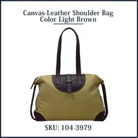 Canvas Leather Shoulder Bag Color Light Brown