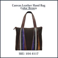 Canvas Leather Hand Bag Color Brown
