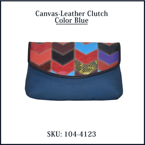 Canvas Leather Clutch Color Blue