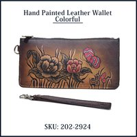 Hand Painted Leather Wallet Colorful