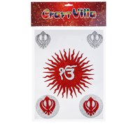 Craft VIlla  A3 card ik onkar Glitter Sticker