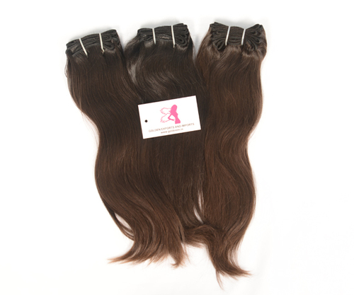 Machineweft Brown Straight  Hairs