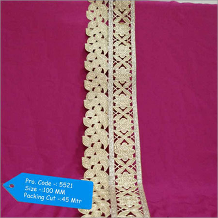 Golden Zardosi Cut Work Lace