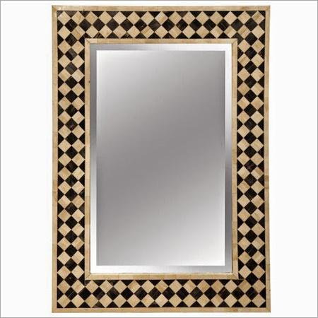 Golden Framed Bone Inlay Mirror