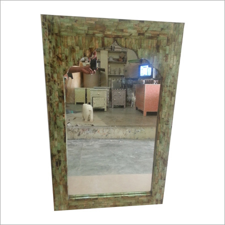 Light Yellow Framed Bone Inlay Mirror