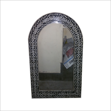 Round Glass Bone Inlay Mirror