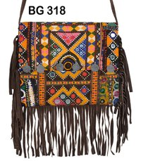 Vintage Banjara with Leather Fabric Clutch Bag