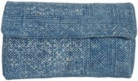 Indigo Hand Block Print Cotton Dhurrie Clutch Bag