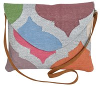 Silver Multi Color Zari Dhurrie Clutch Bag