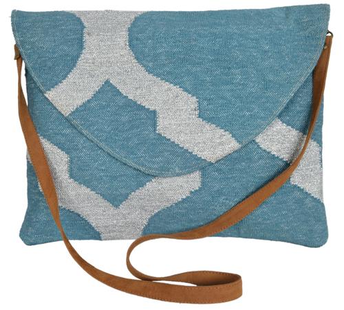 Silver Zari Dhurrie Clutch Bag