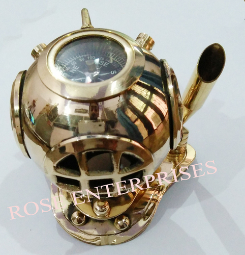 Nautical Maritime Home Decor Mini Diving Helmet Compass with Pen Holder