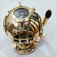 Nautical Maritime Brass Home Decor Mini Diving Helmet Compass Pen Holder