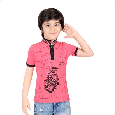 Boys Cotton Collar Neck T-Shirt
