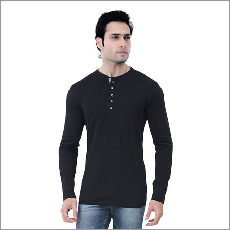 Mens Cotton Black T-Shirt
