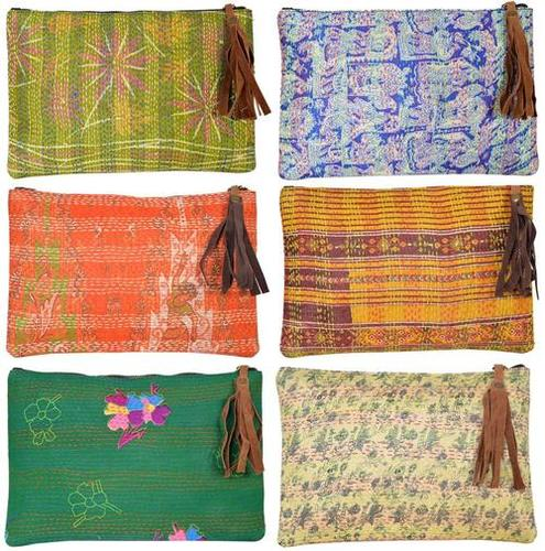 Vintage Silk Kantha Clutch Bag