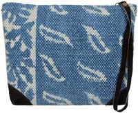 Cotton Indigo Block Printed With Leather Clutch Bag