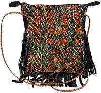 Vintage Cotton Kantha With Leather Messenger Bag