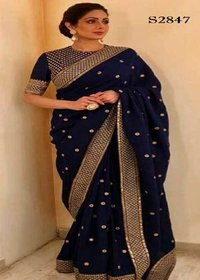 Bollywood Designed Blue Color Embroidery Saree