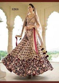 Bridal Maroon Velvet Lehenga Choli Dupatta Set