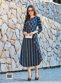 Blue Stylish Cotton Silk Casual Wear kurti