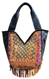 Black Leather Banjara Bags