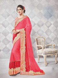 Orange Stylish Georgette Casual Wear Saree