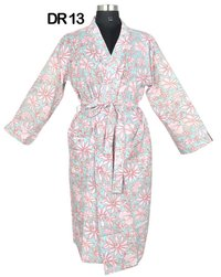 10 Cotton Hand Block Print Long Women's Kimono Robe DR13