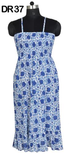 10 Cotton Hand Block Printed Short Spaghetti Dress DR37