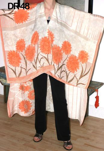 10 Vintage Recycled Silk Sari Front Open Kaftan Poncho DR48
