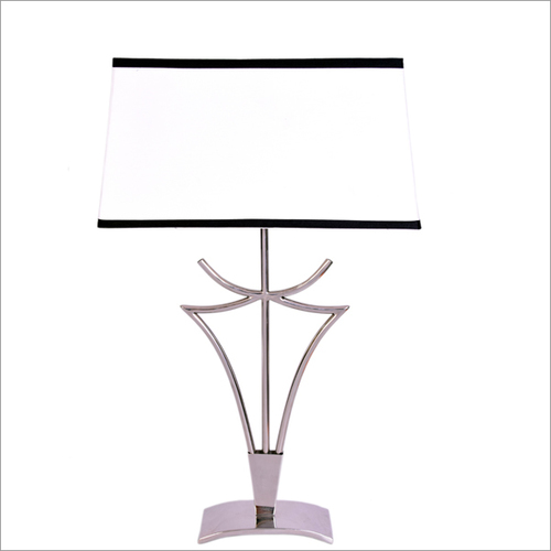 Steel Table Lamp In Shiny Nickel