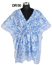 10 Cotton Hand Block Printed Short Kaftan