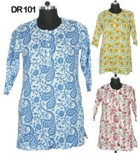10 Cotton Hand Block Print Short Women's Top Kurti DR101