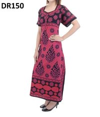 10 Cotton Printed Half Sleeves Nighty Gown DR150