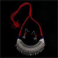 Ladies Silver Metal Necklace Set