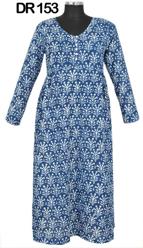 10 Cotton Hand Block Printed Calf Length Women's Dress DR153