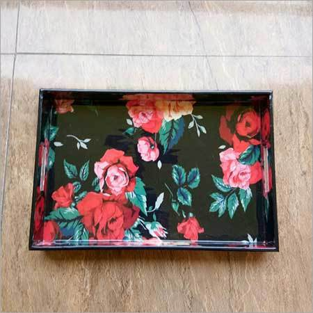 flower printed tray
